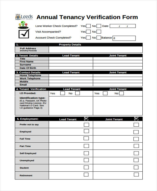 Tenant Verification Form Sample  Free Sample Example Format