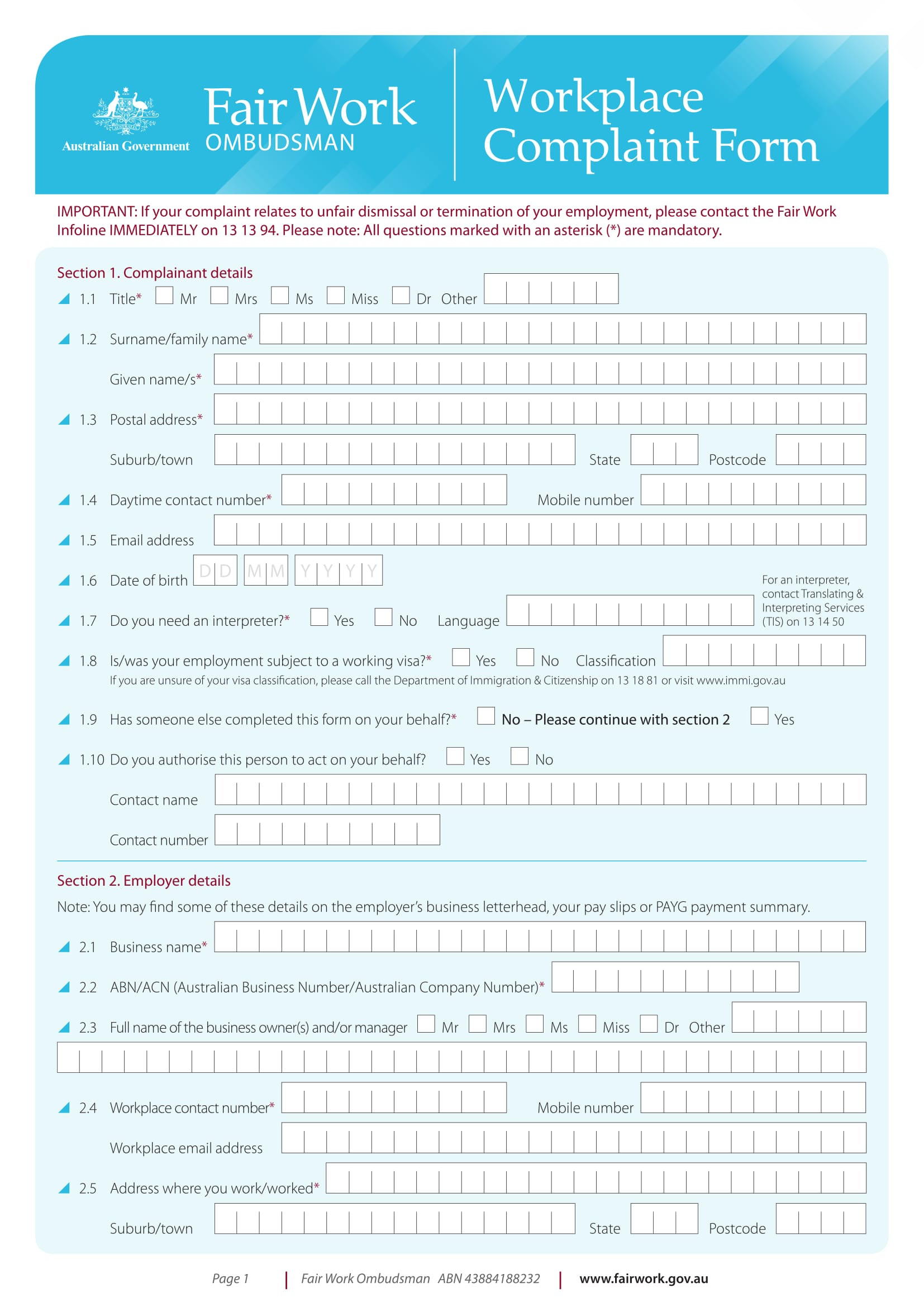 workplace complaint form example 1