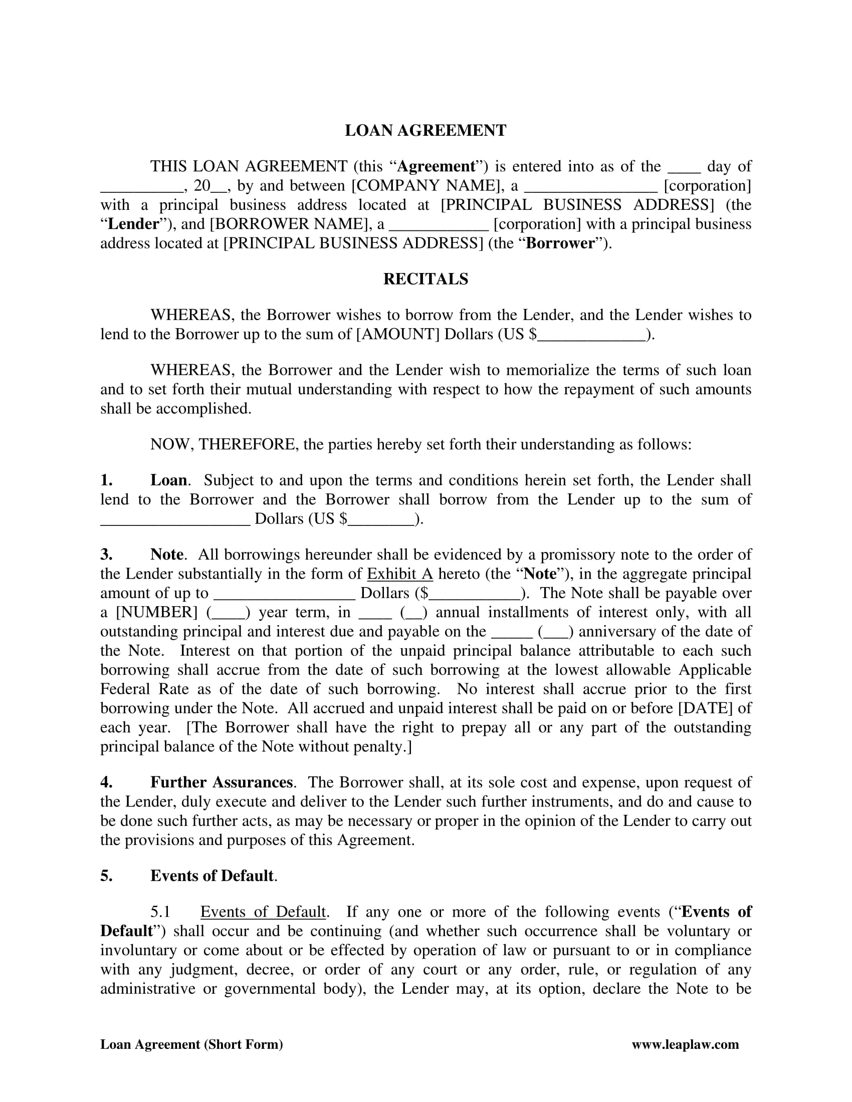 loan agreement form 2