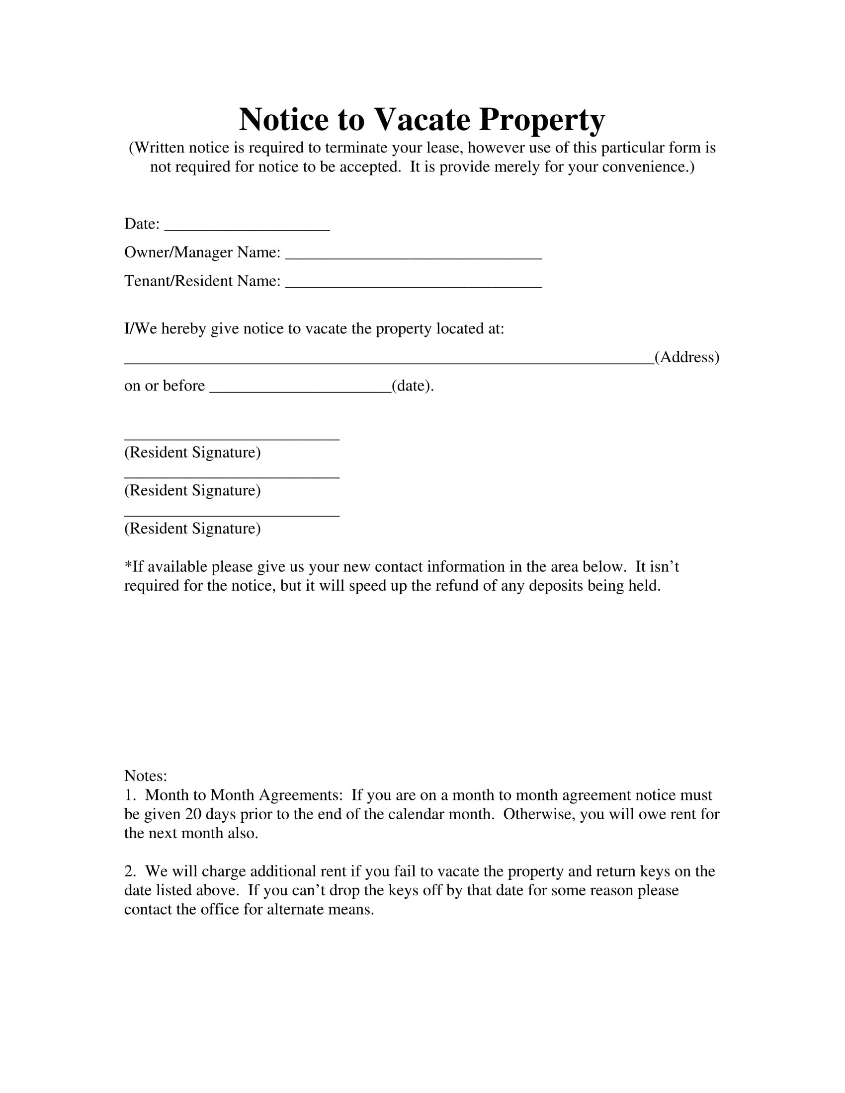 15 landlord forms landlord agreements notice forms for Giving notice to landlord template