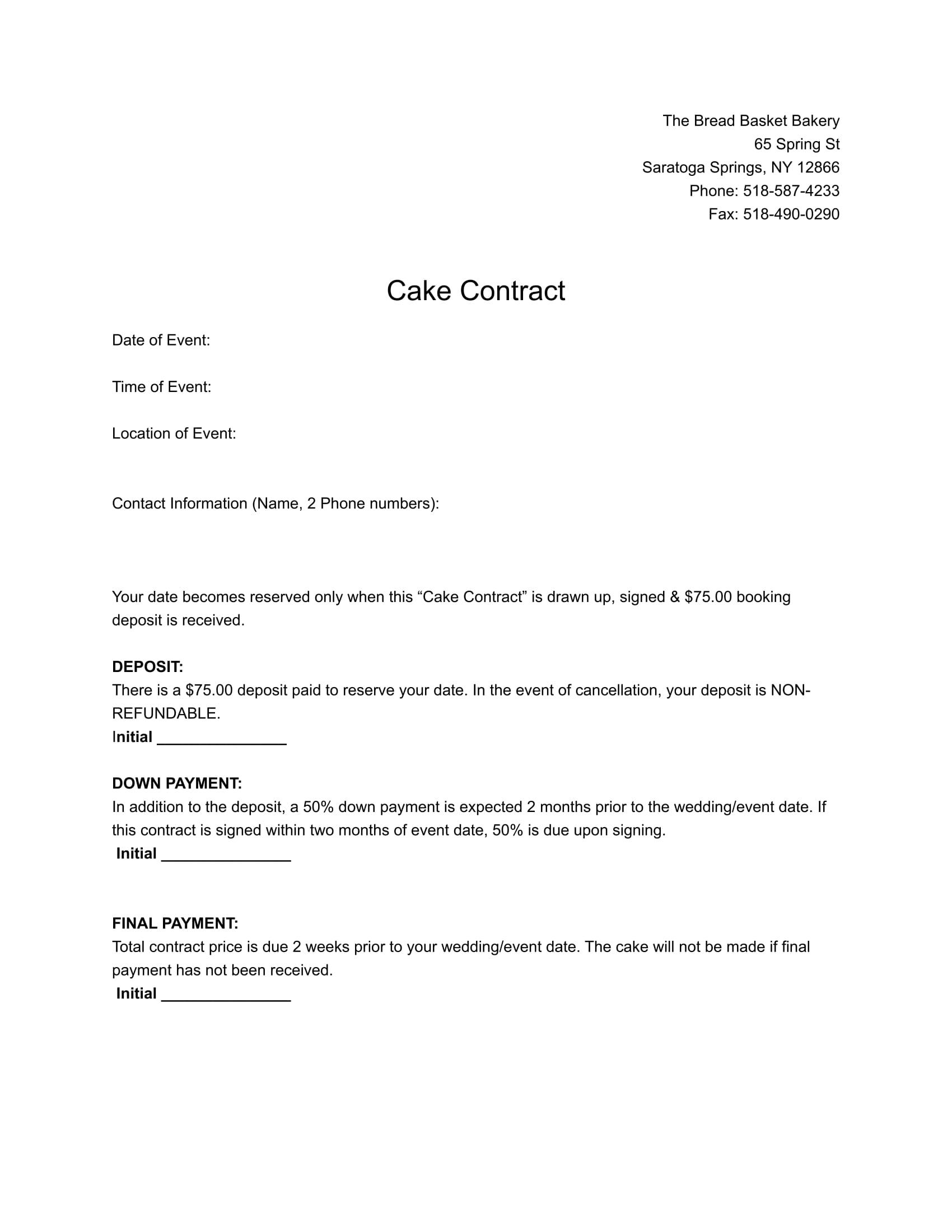 wedding cake contract 1