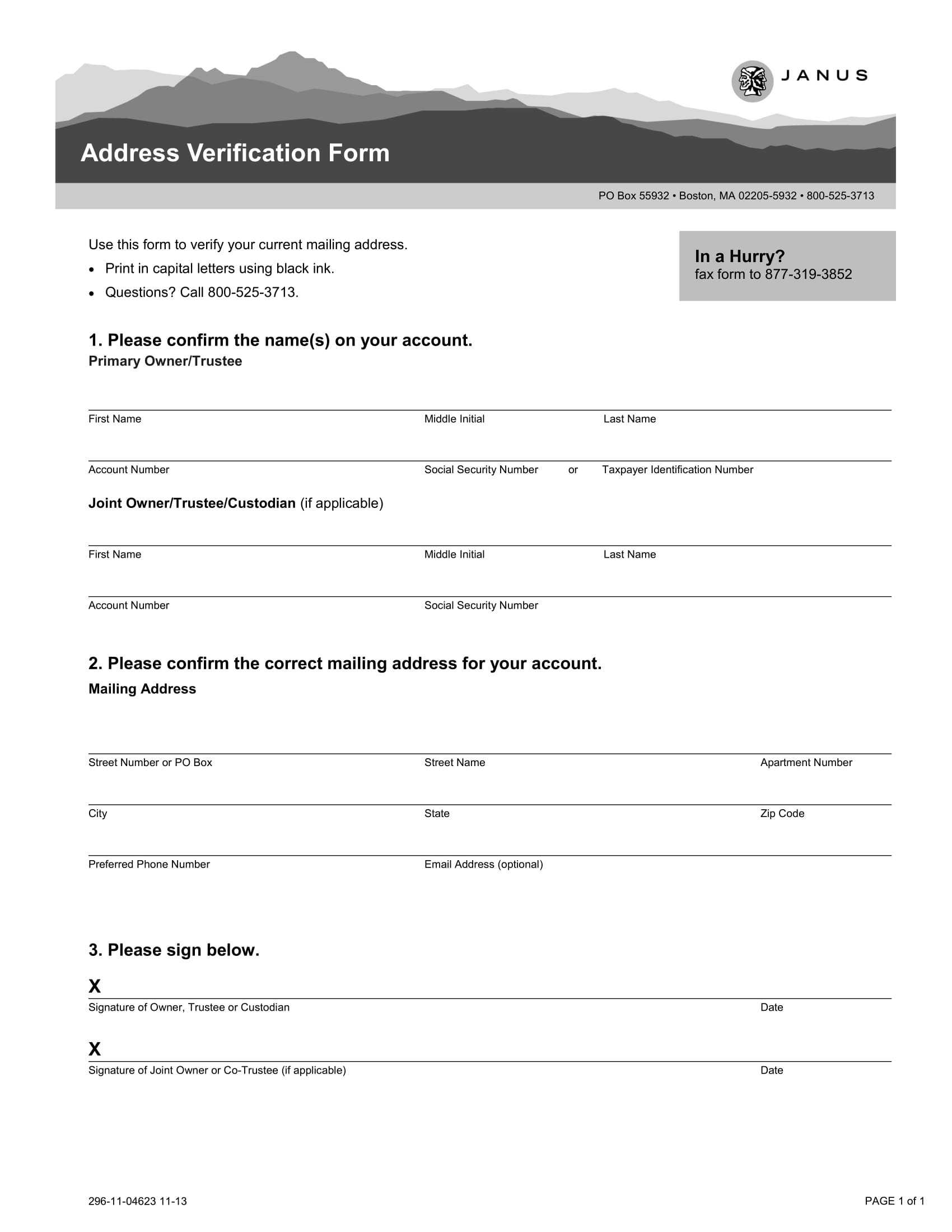 address verification form 1