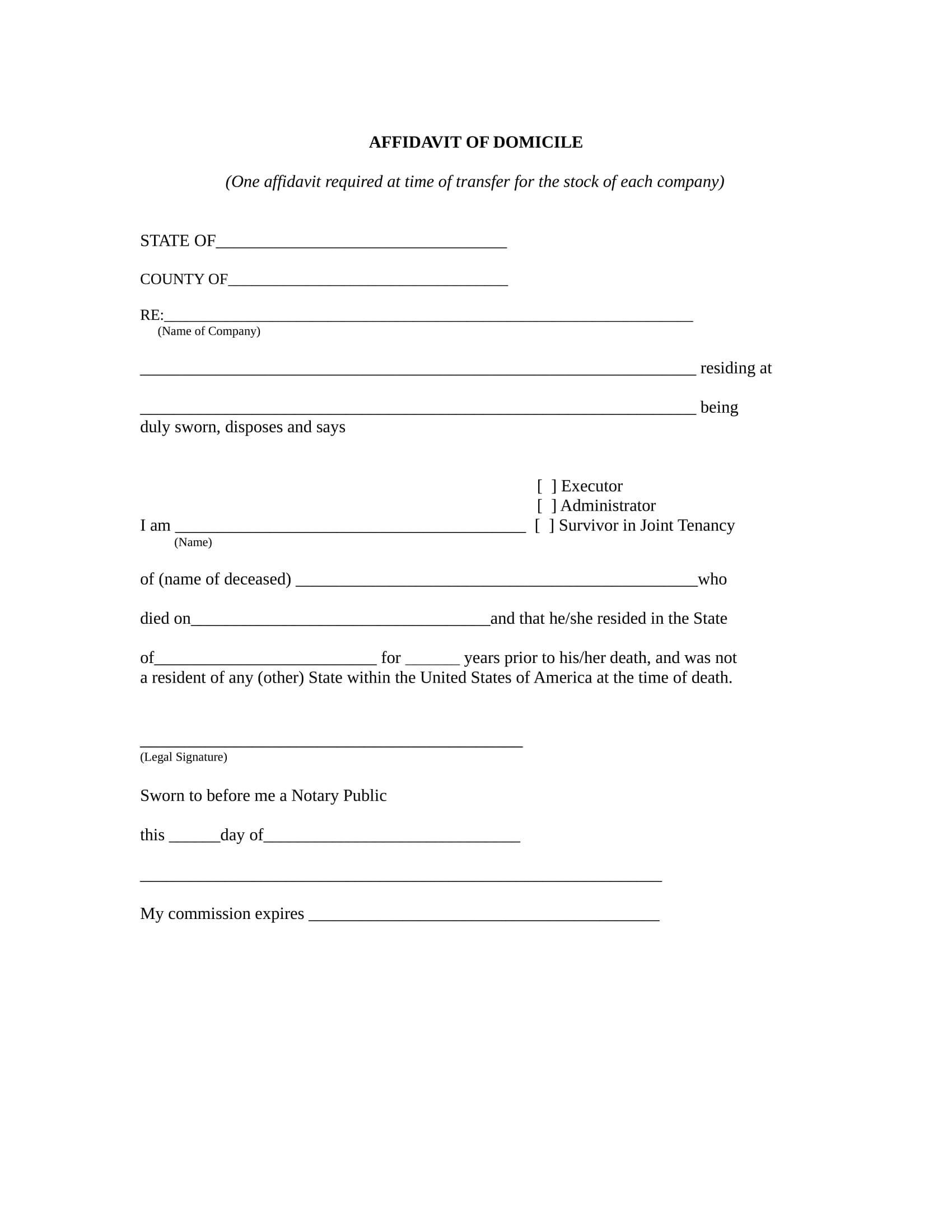 affidavit of domicile format 1