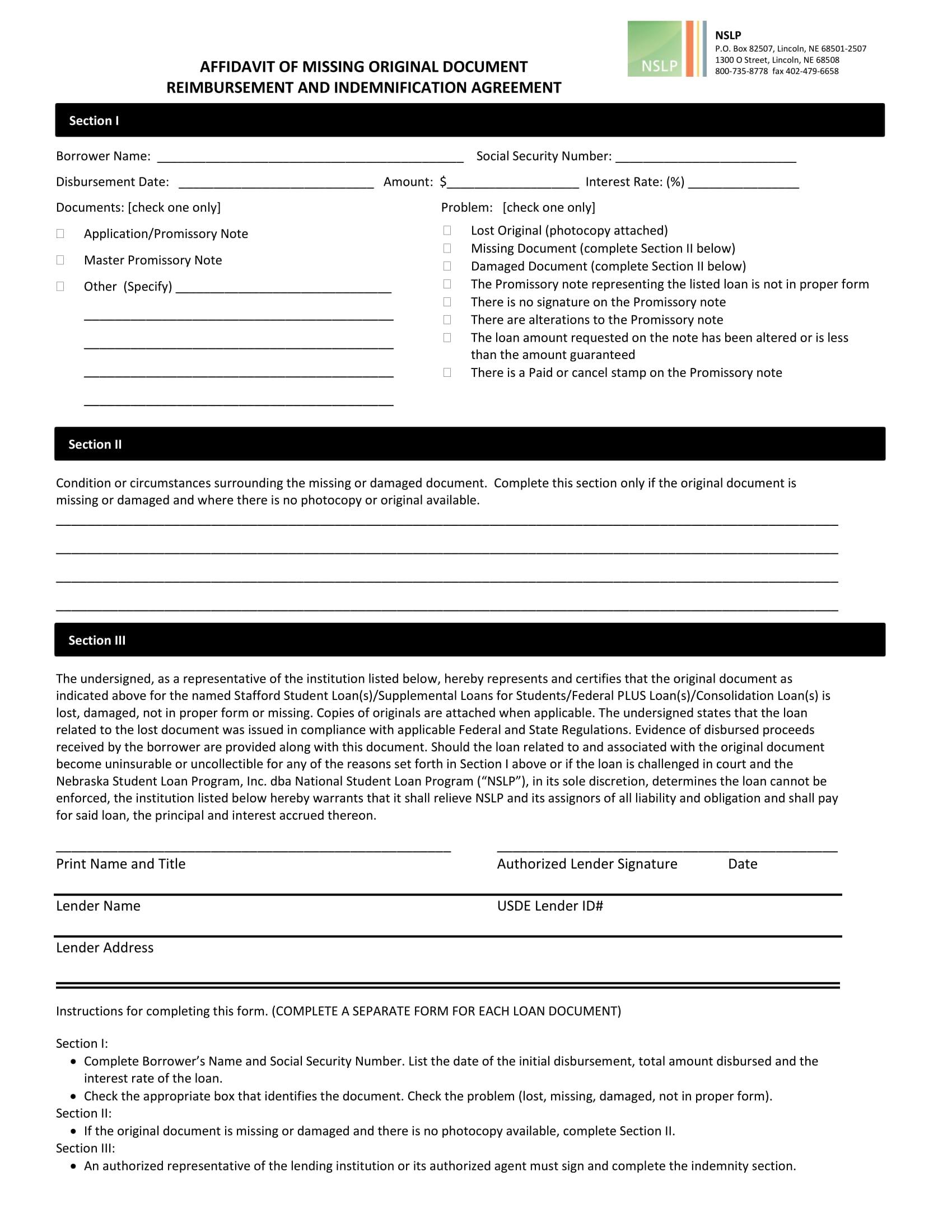 affidavit of missing document form sample 1