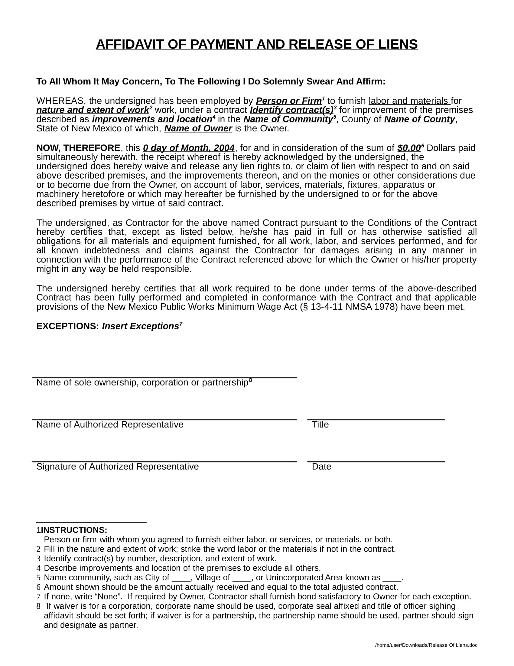 affidavit of payment form sample 1