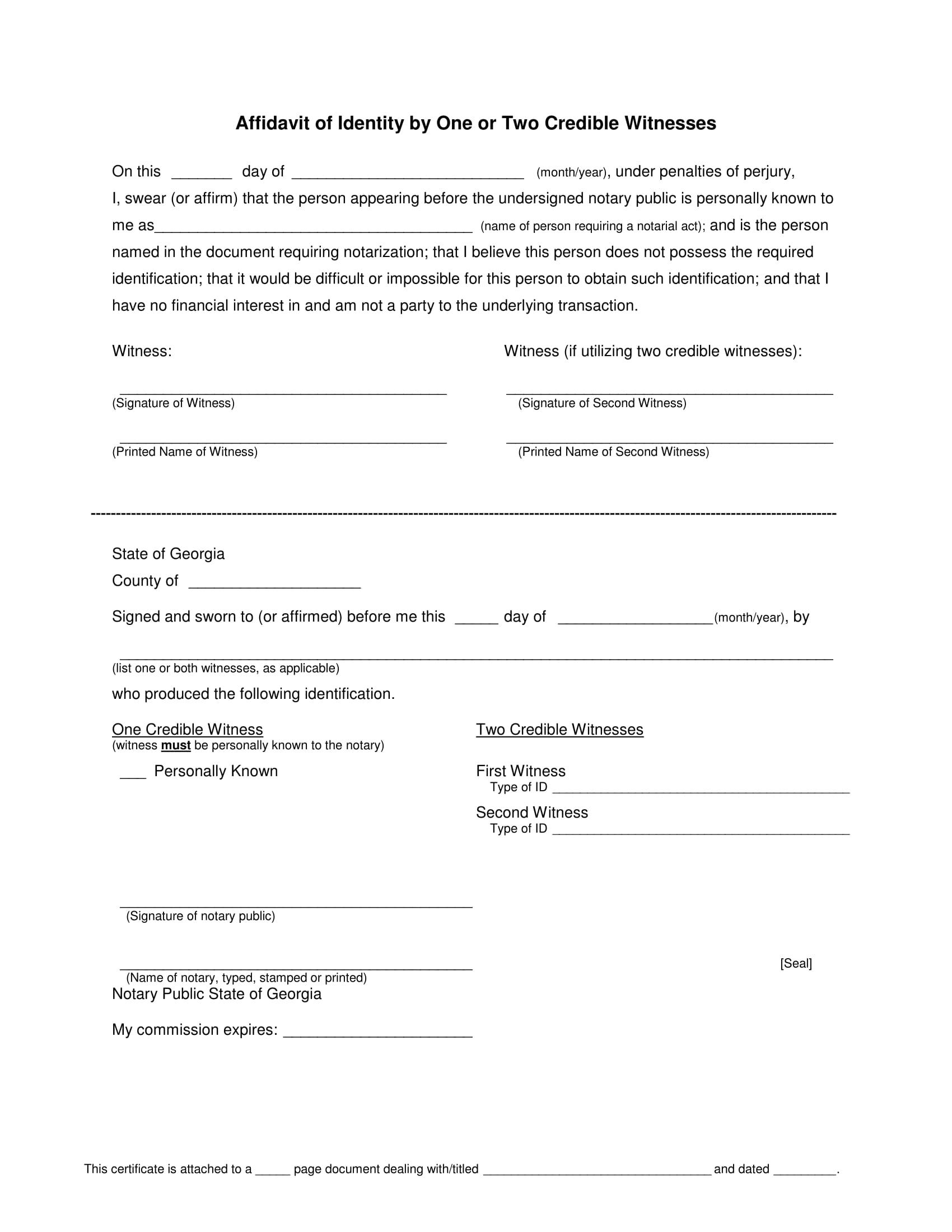 affidavit of witness identity format 1