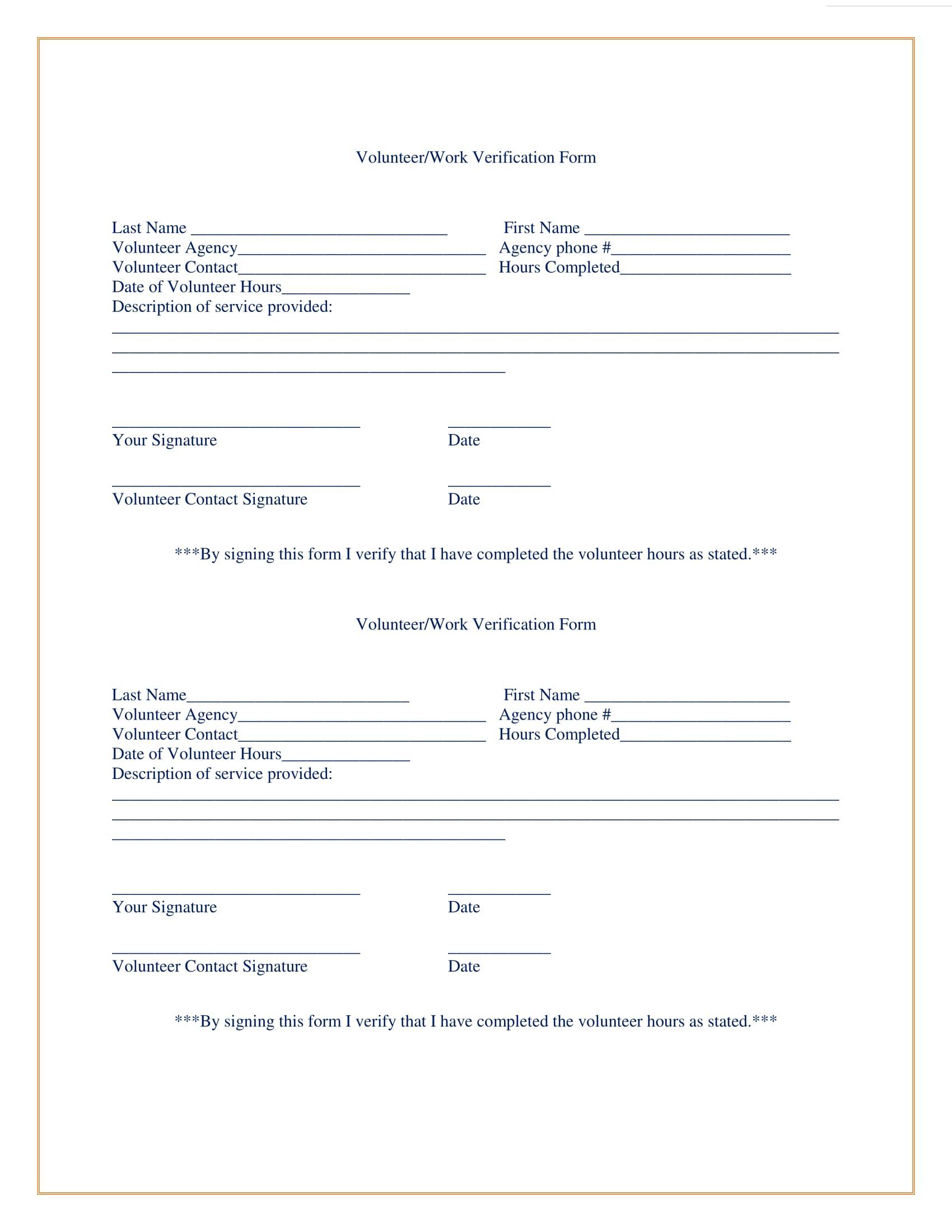 Verification Of Volunteer Hours Letter from images.sampleforms.com