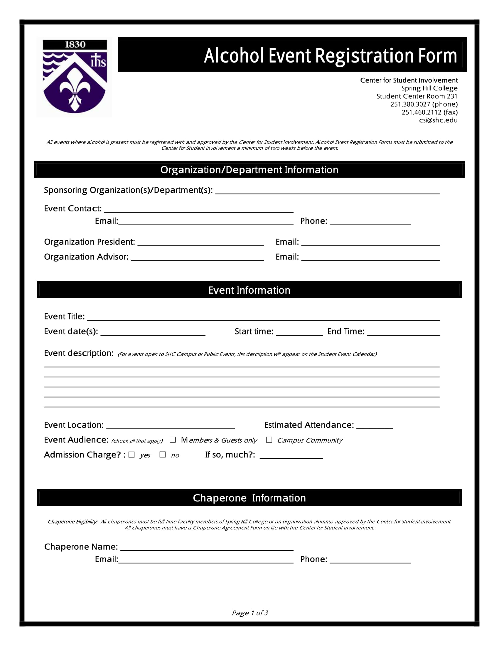 alcohol event registration form 1
