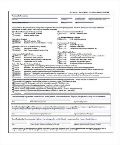 annual training needs assessment form1 390