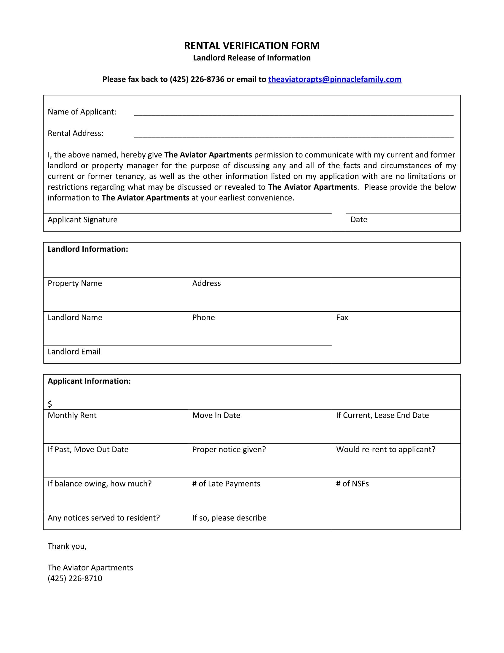 apartment rental verification form 1