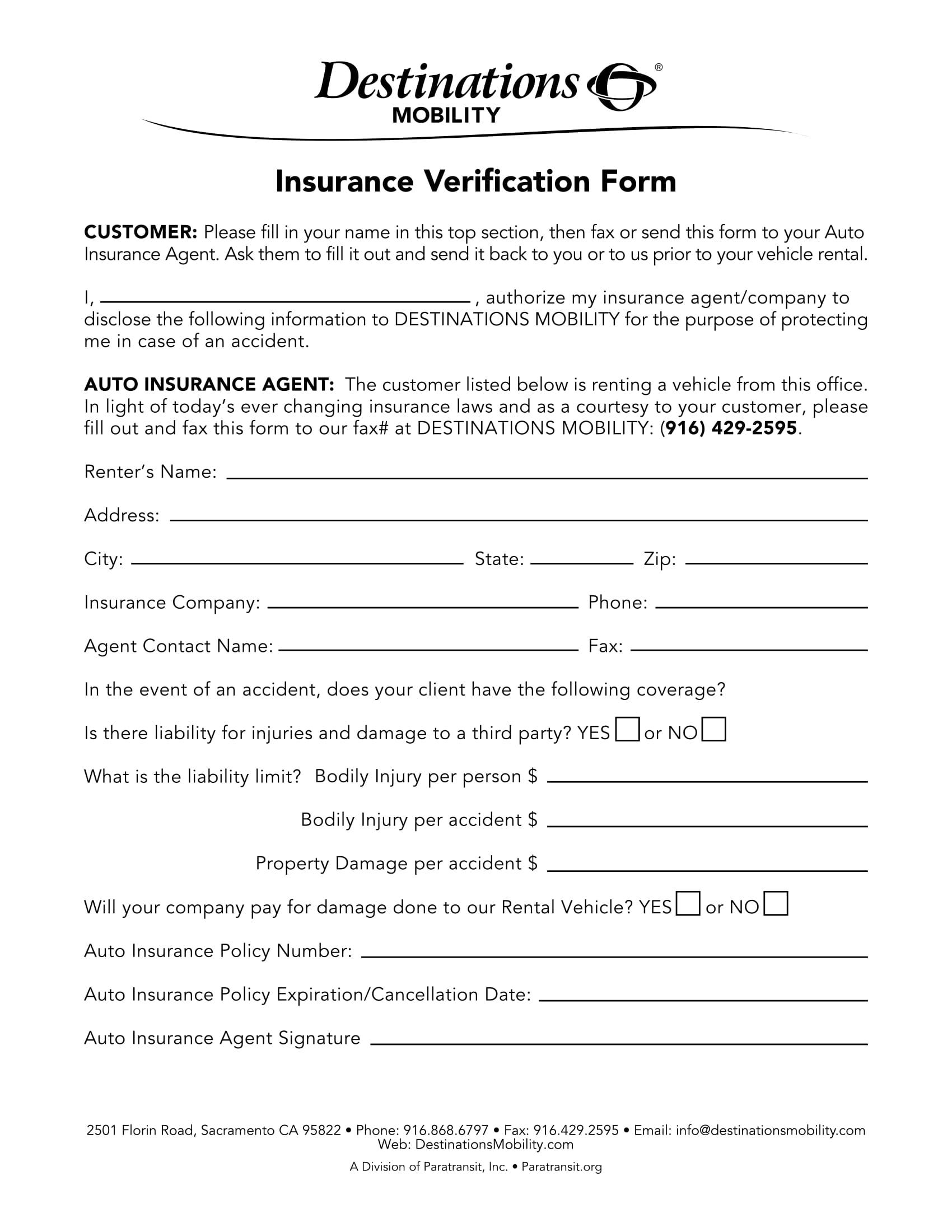 automobile insurance verification form 1