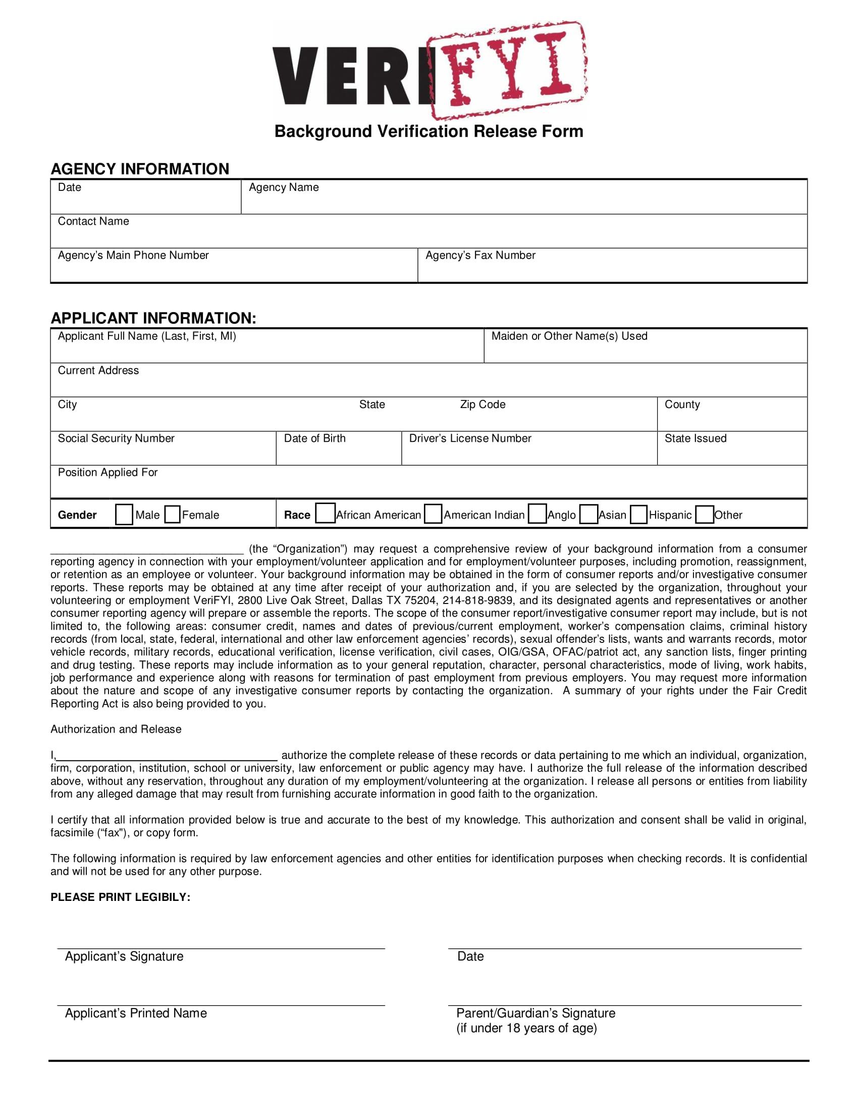 background verification release form 1