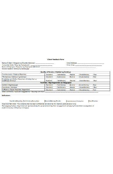 basic client feedback form
