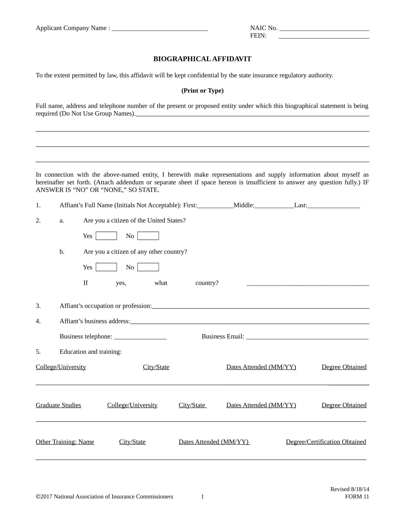 biographical affidavit sample format 01