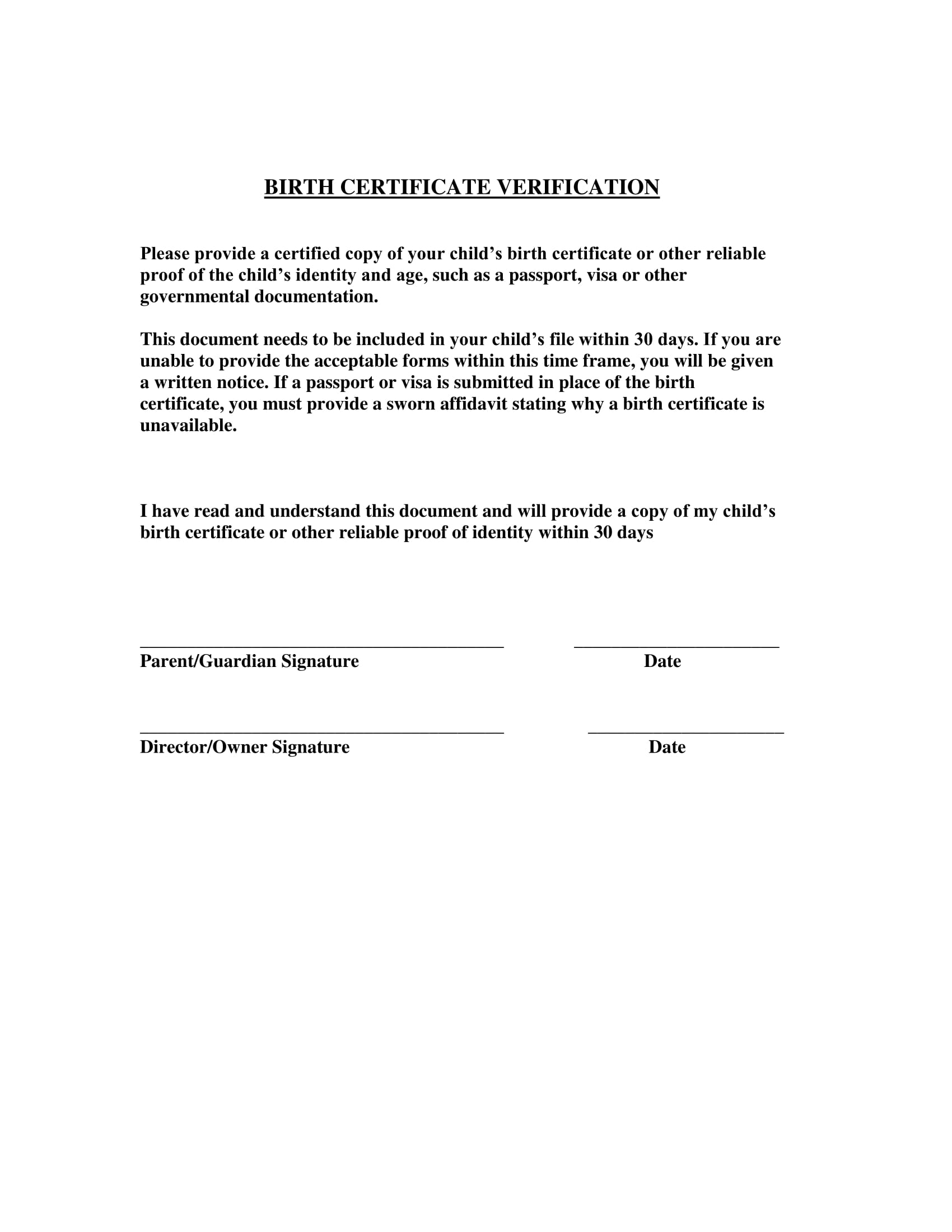 Birth Verification Form Definition Importance And Purpose