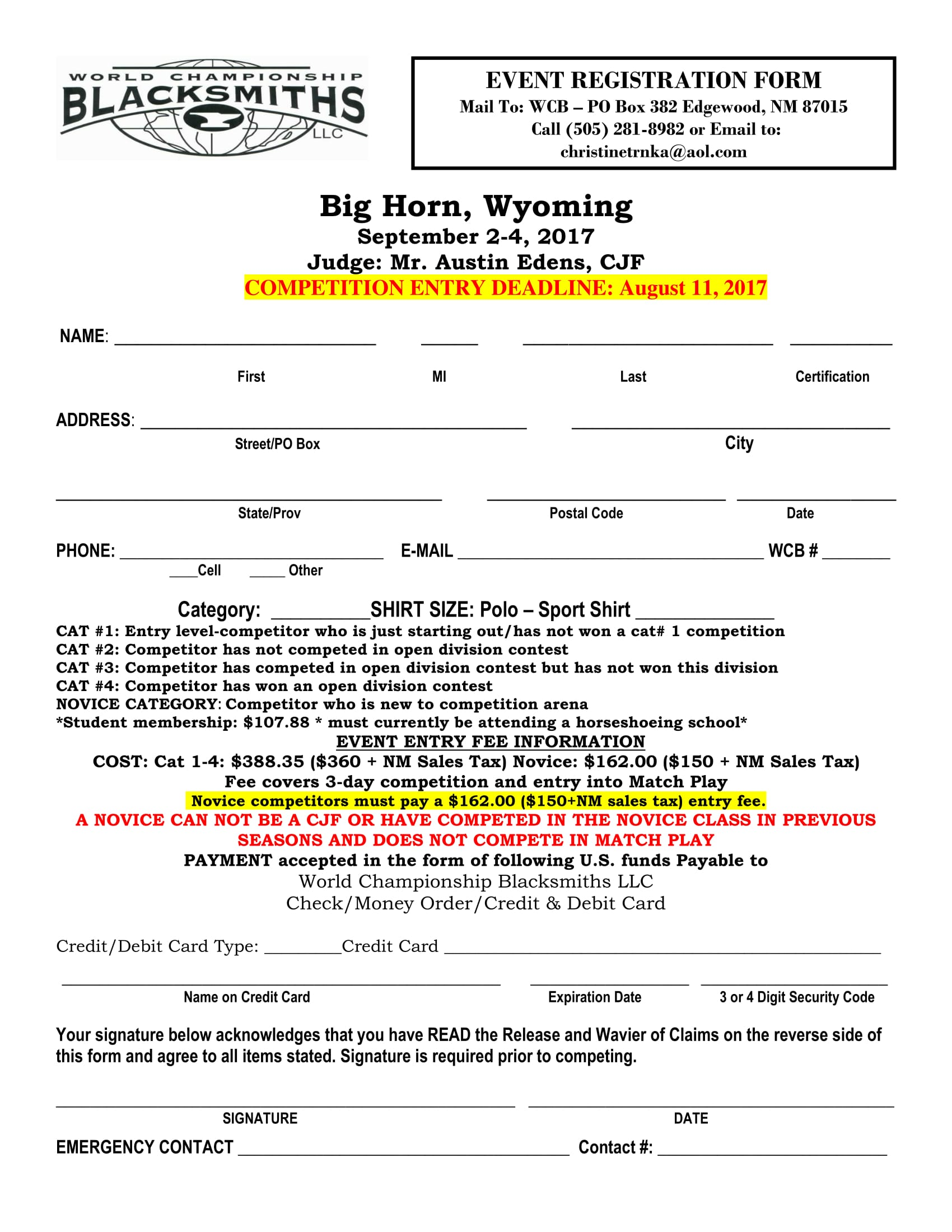 blacksmith event registration form 1