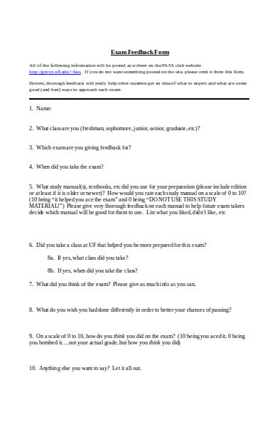 blank exam feedback form
