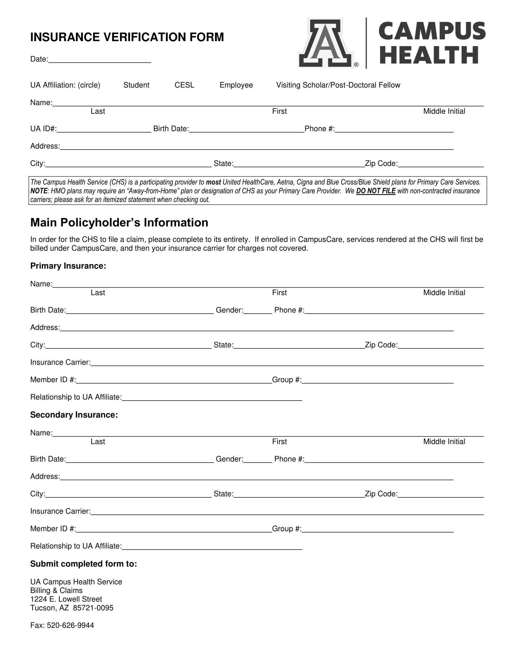 campus insurance verification form 1