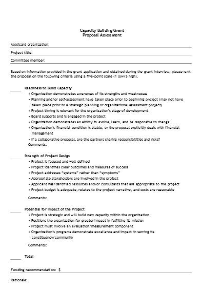 capacity proposal assessment form