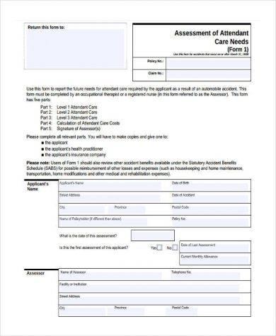 care needs assessment form 390
