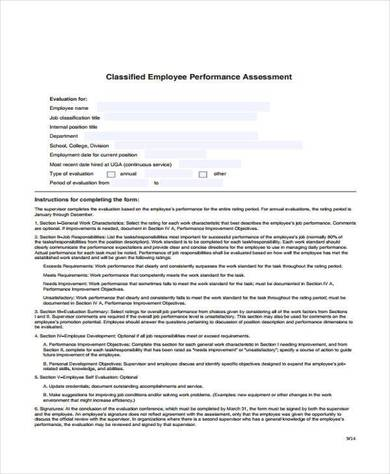 classified employee performance assessment form 390