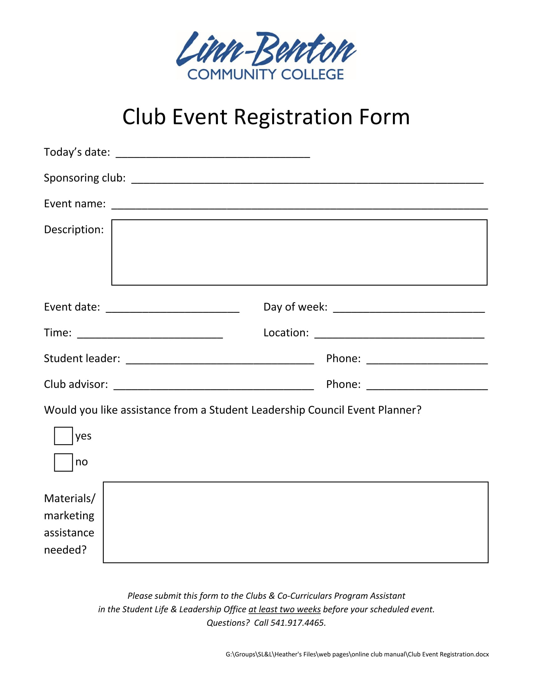 club event registration form 1