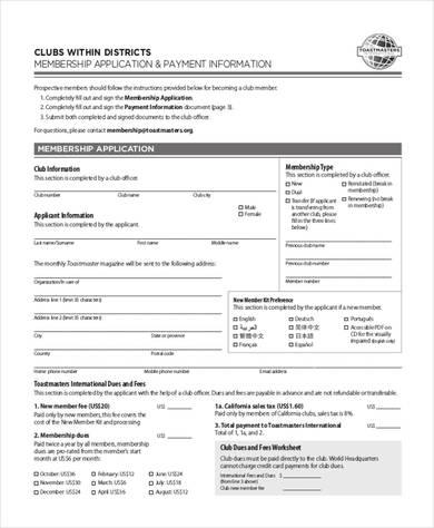 club membership application form 390