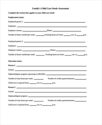 community care needs assessment form 390