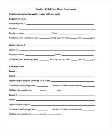 community care needs assessment form 3901