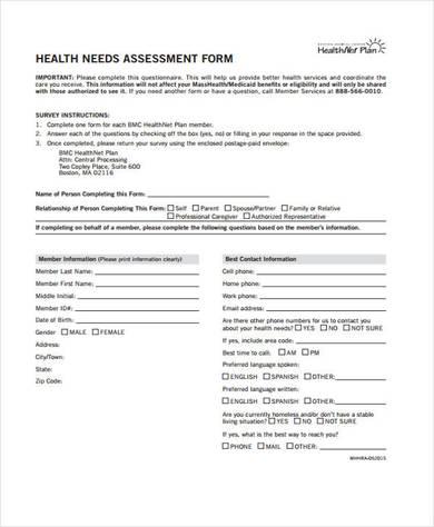 community health needs assessment form5 390