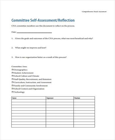 conducting comprehensive needs assessment form 390