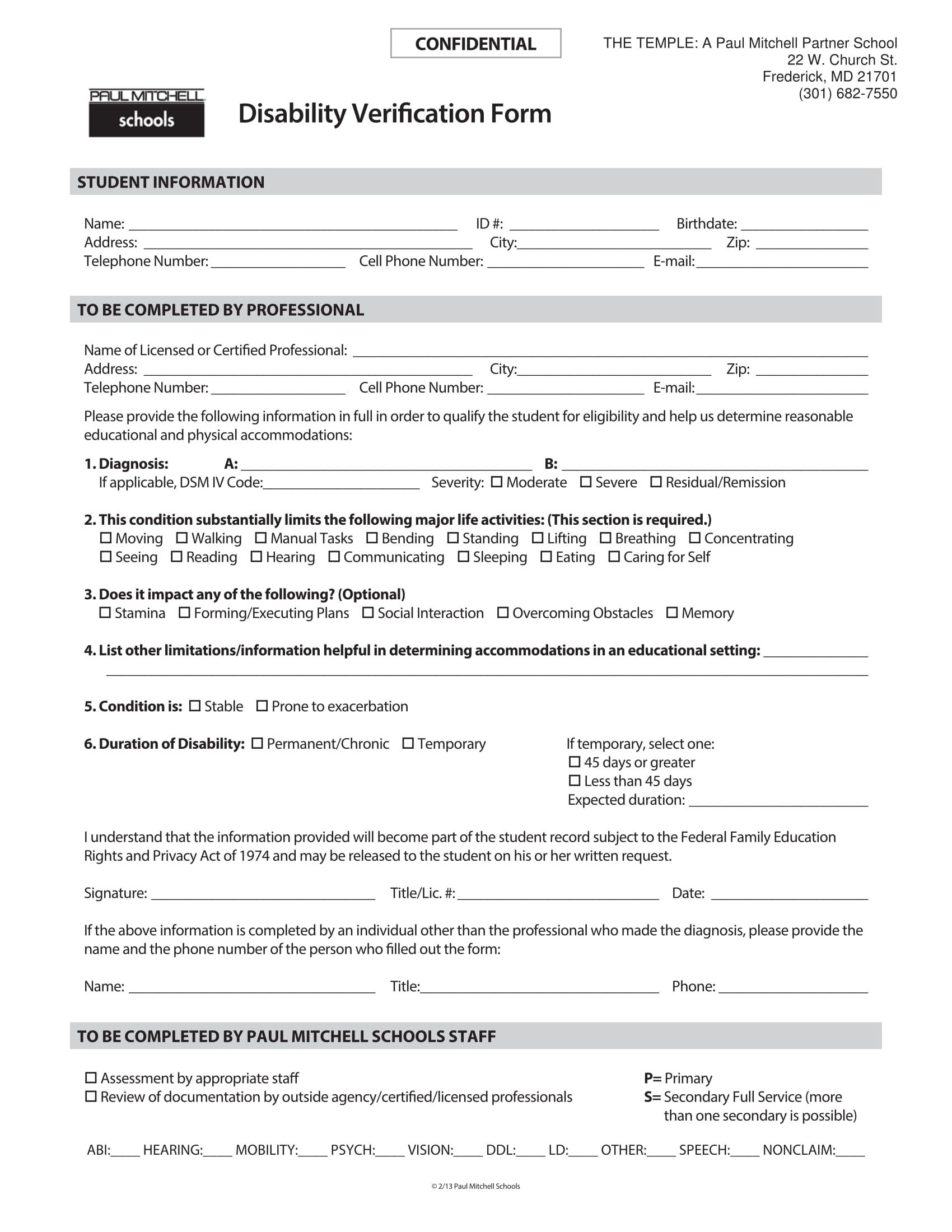 confidential disability verification form 3
