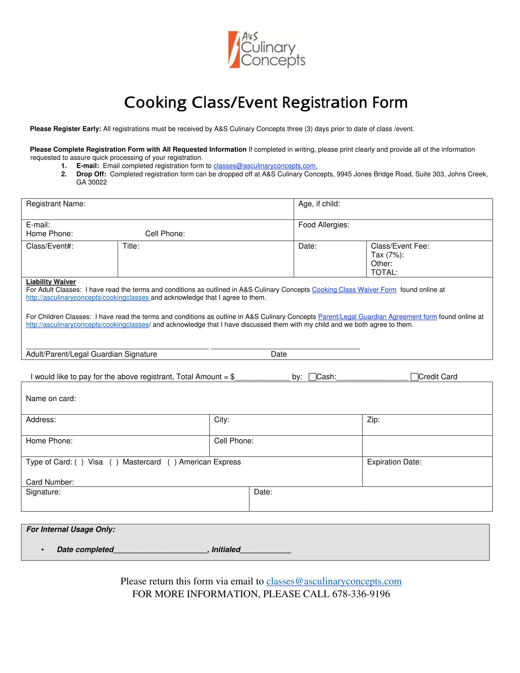 cooking class event registration form 1