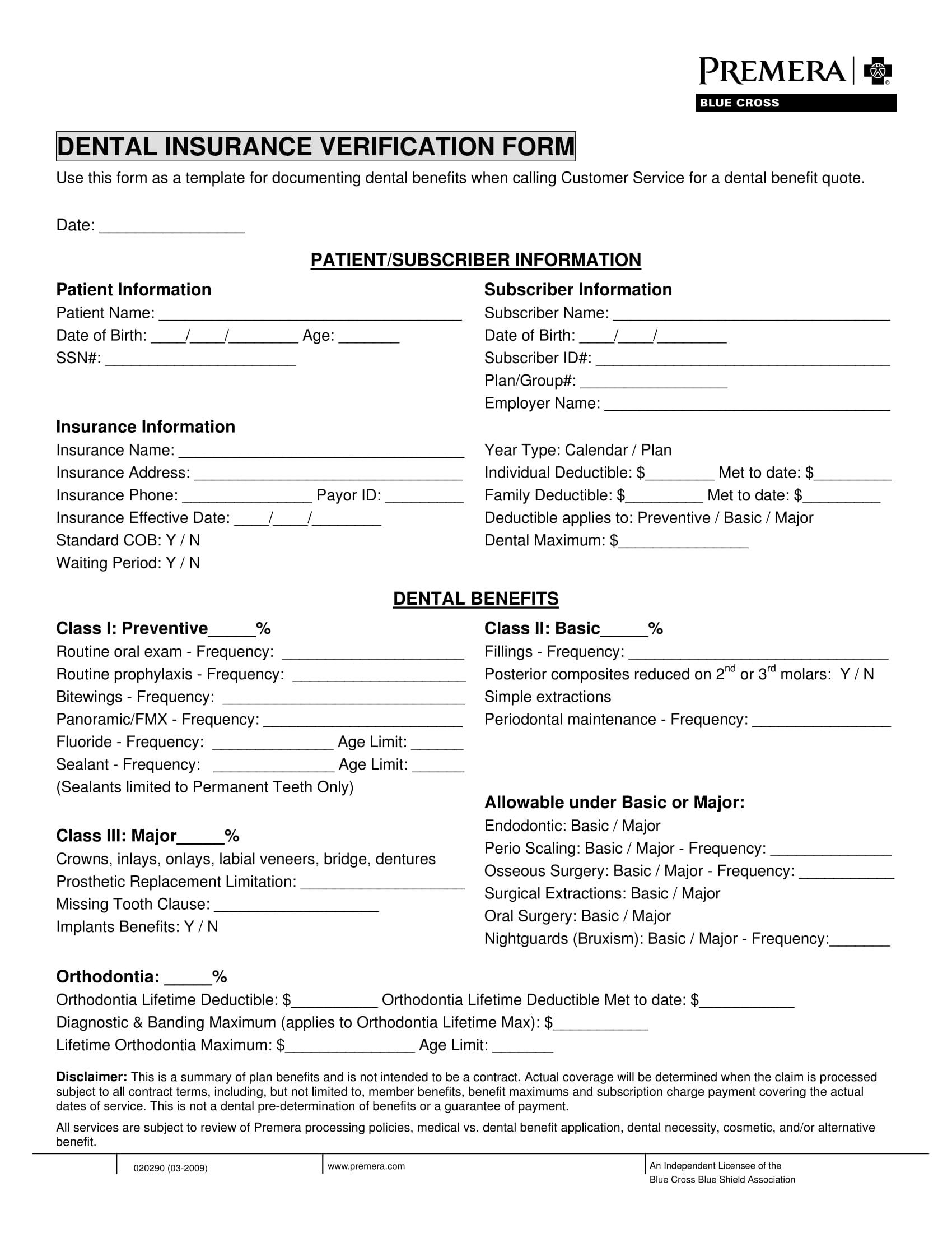 dental insurance verification form 1