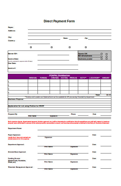 direct payment application form