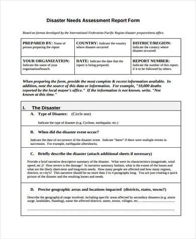 disaster emergency needs assessment form 390