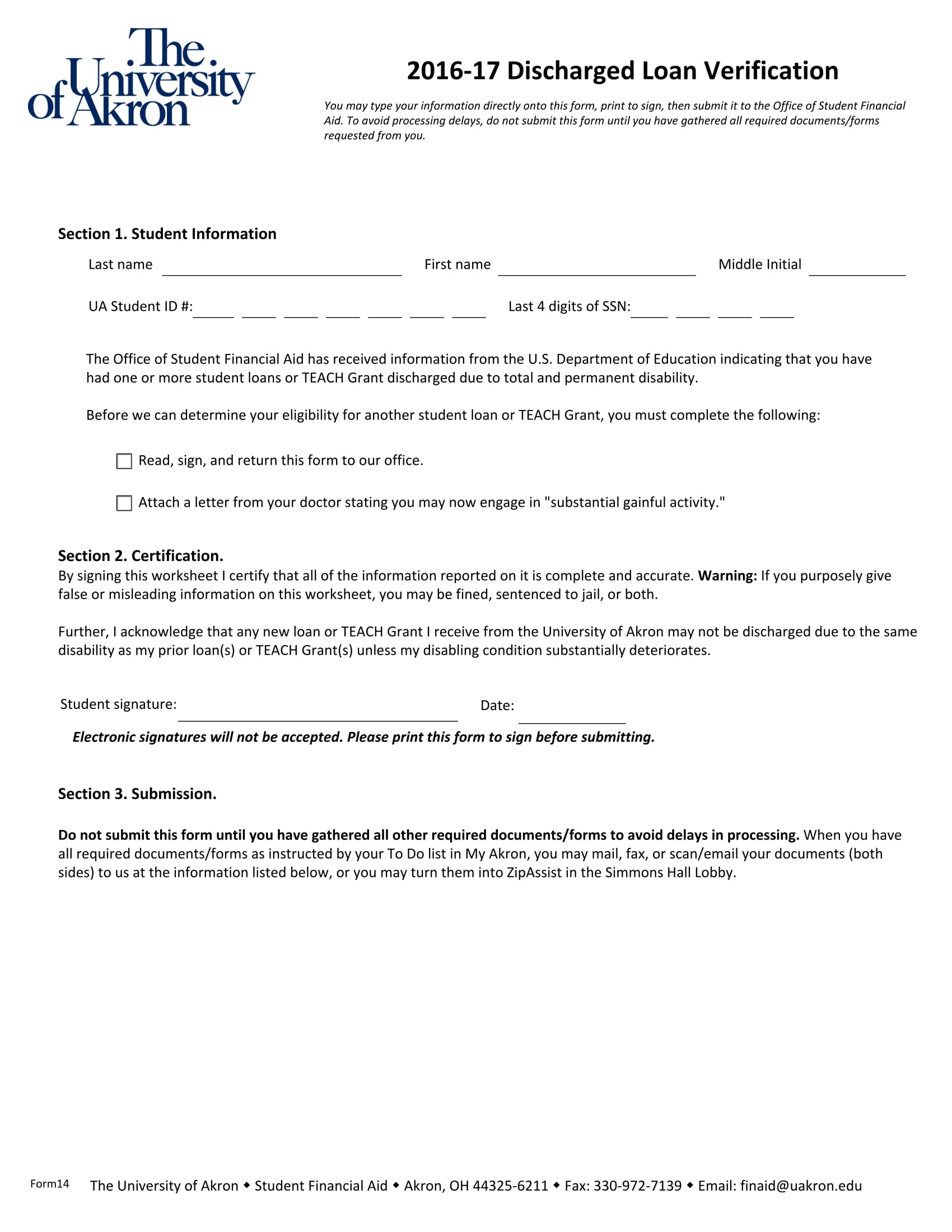 discharged loan verification form 1