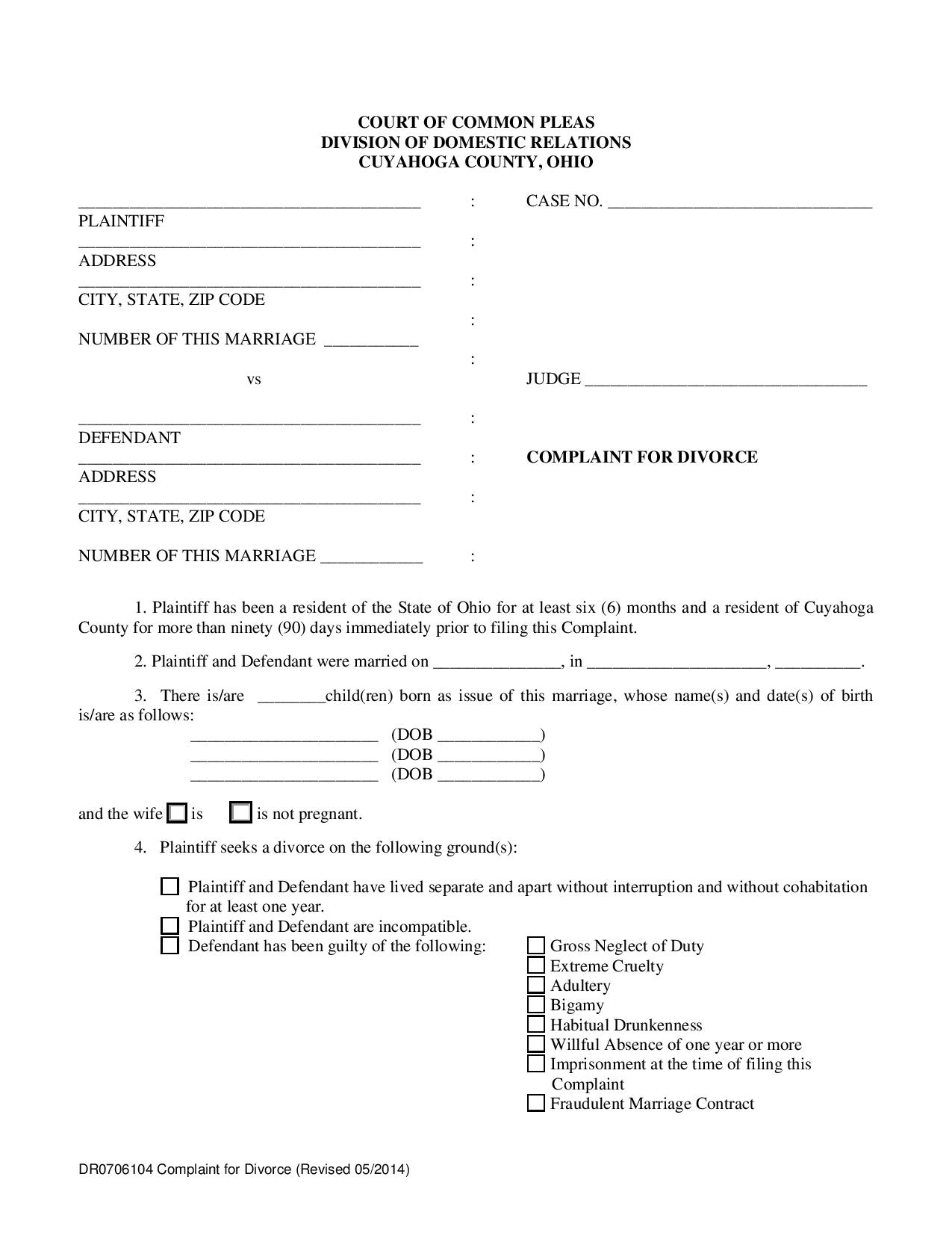 10 different complaint forms county of ohio divorce complaint form solutioingenieria Image collections
