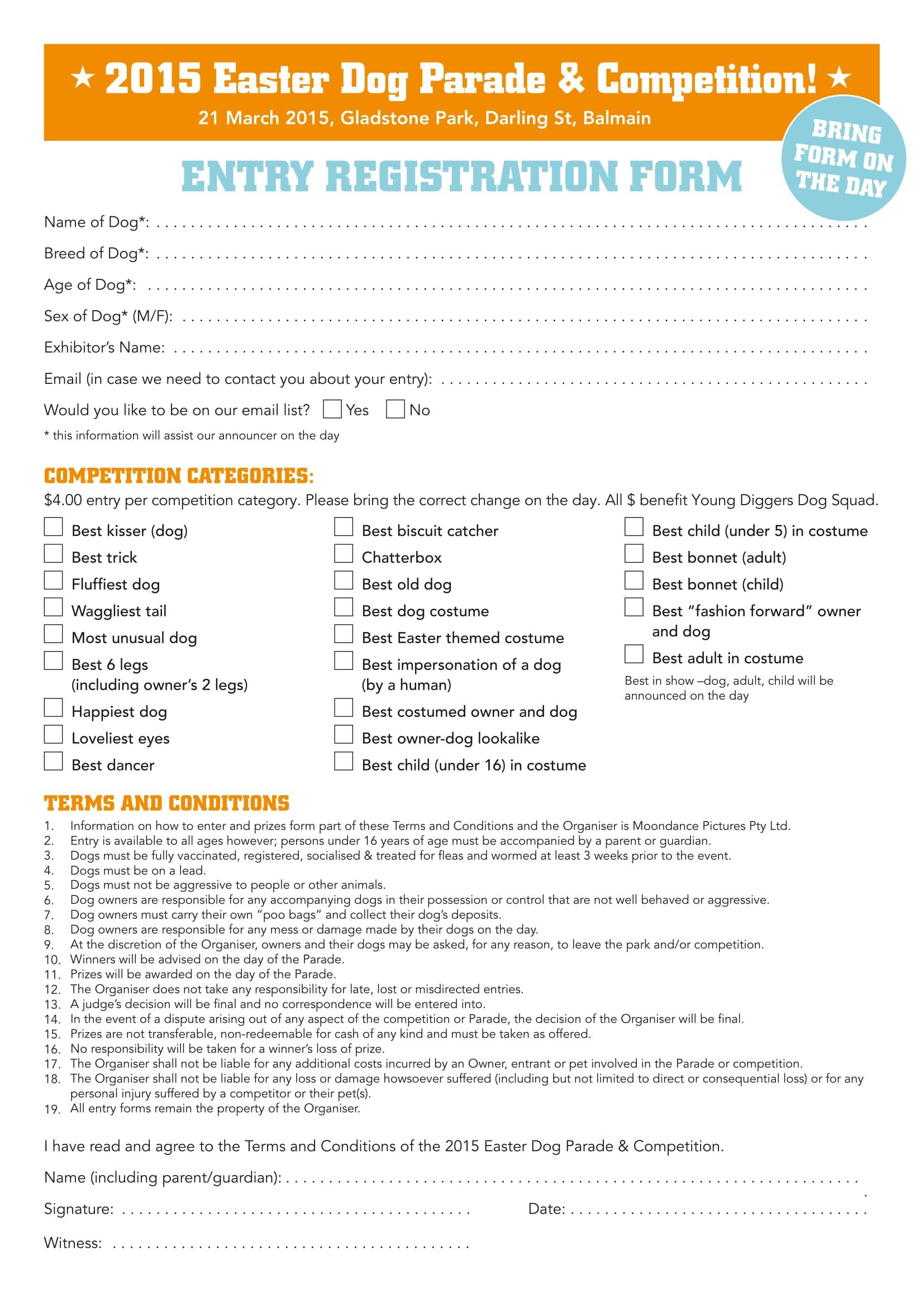 dog competition entry registration form 1