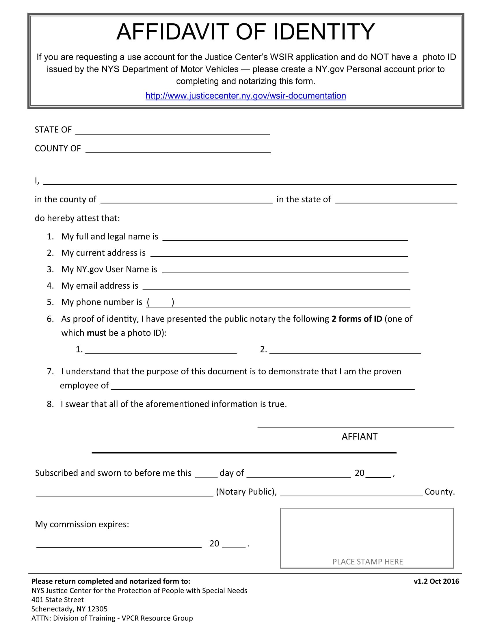 employee affidavit of identity 1