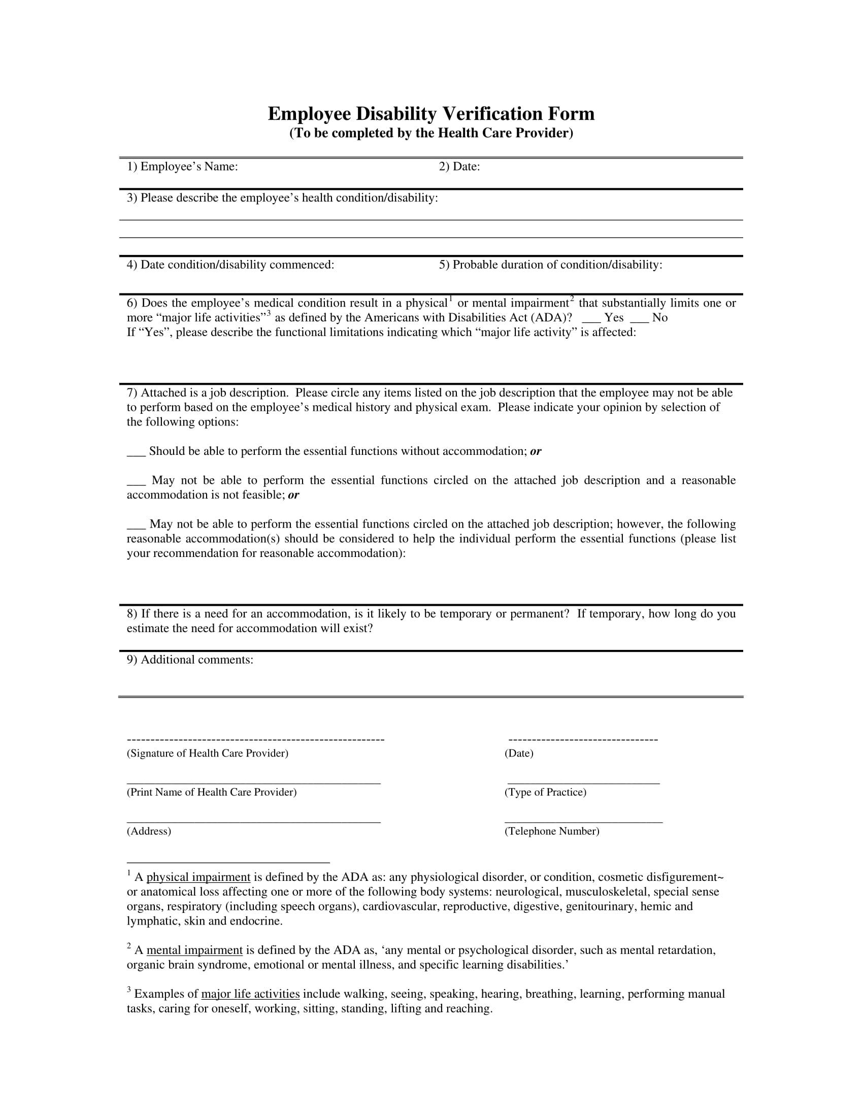 employee disability verification form 1