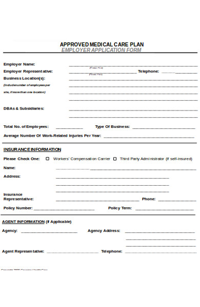 employer health care application form