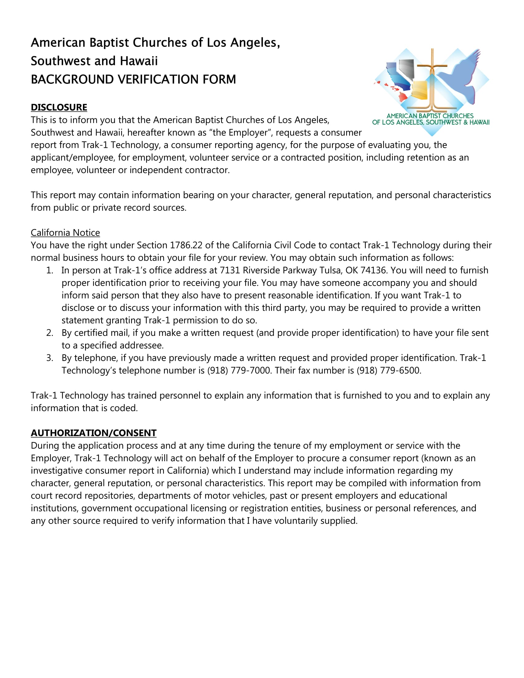employment background verification form 1