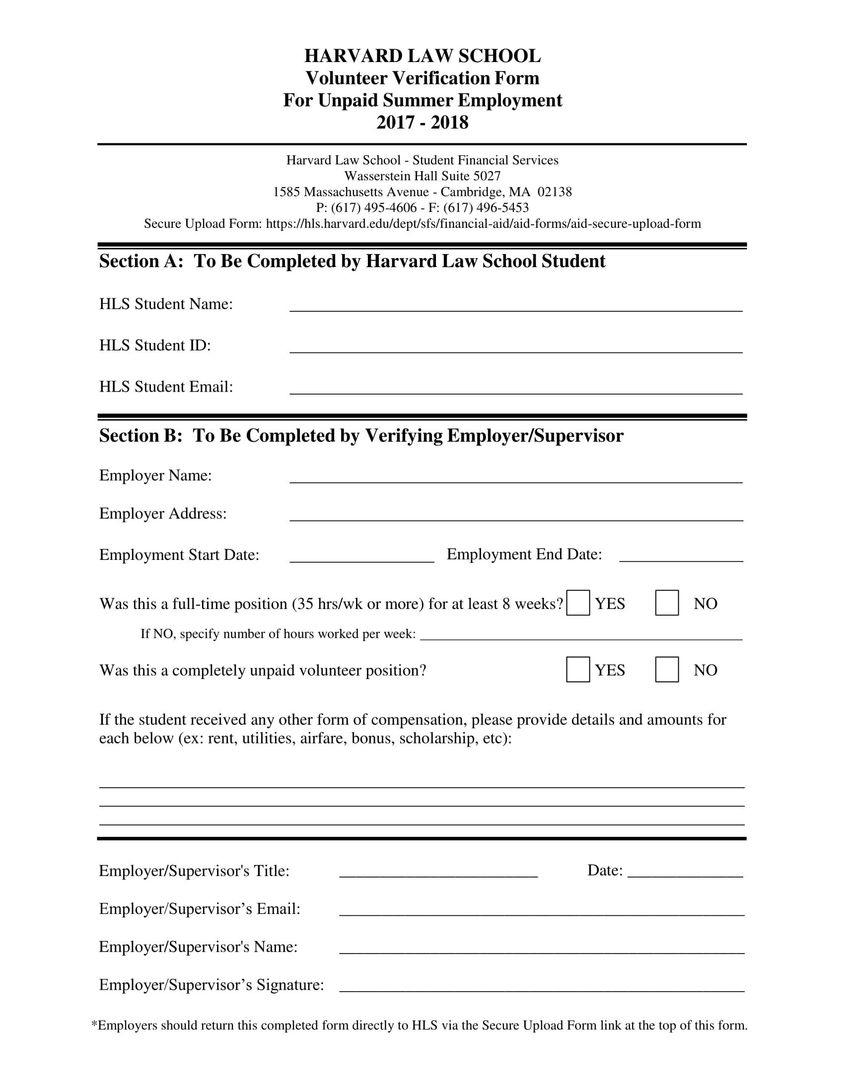 employment volunteer verification form 1
