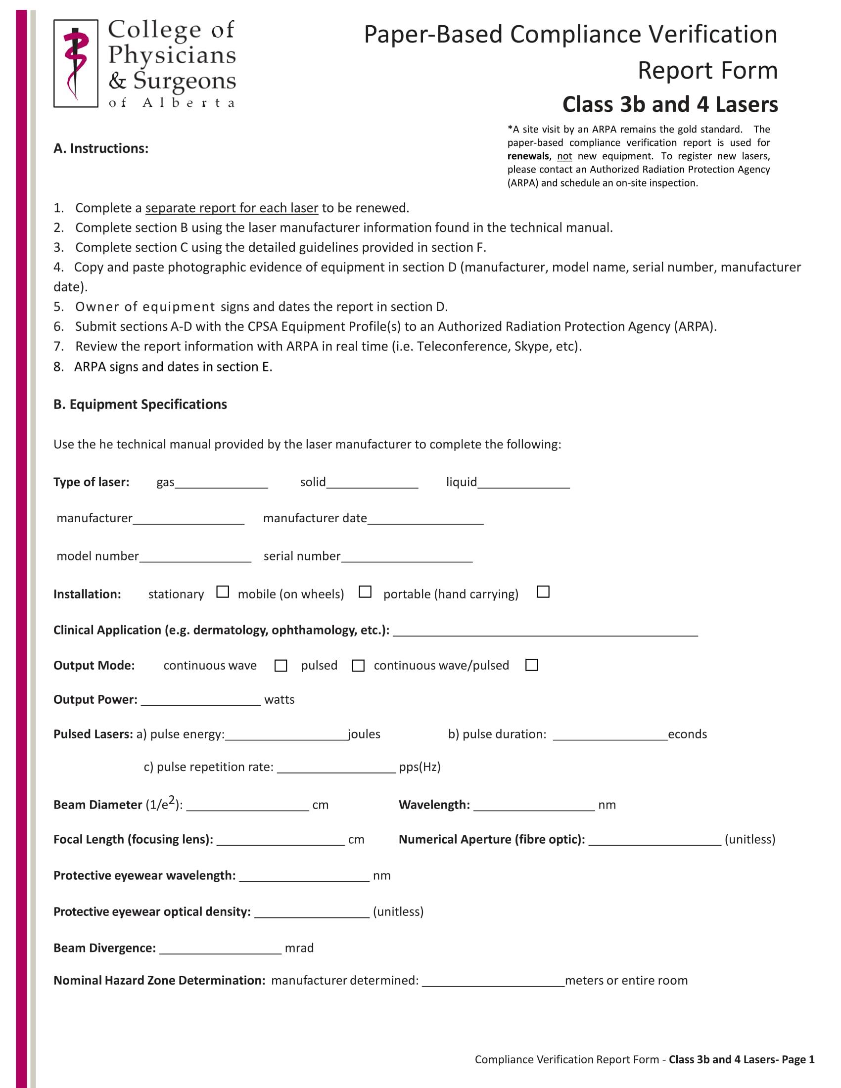 equipment compliance verification report form 01