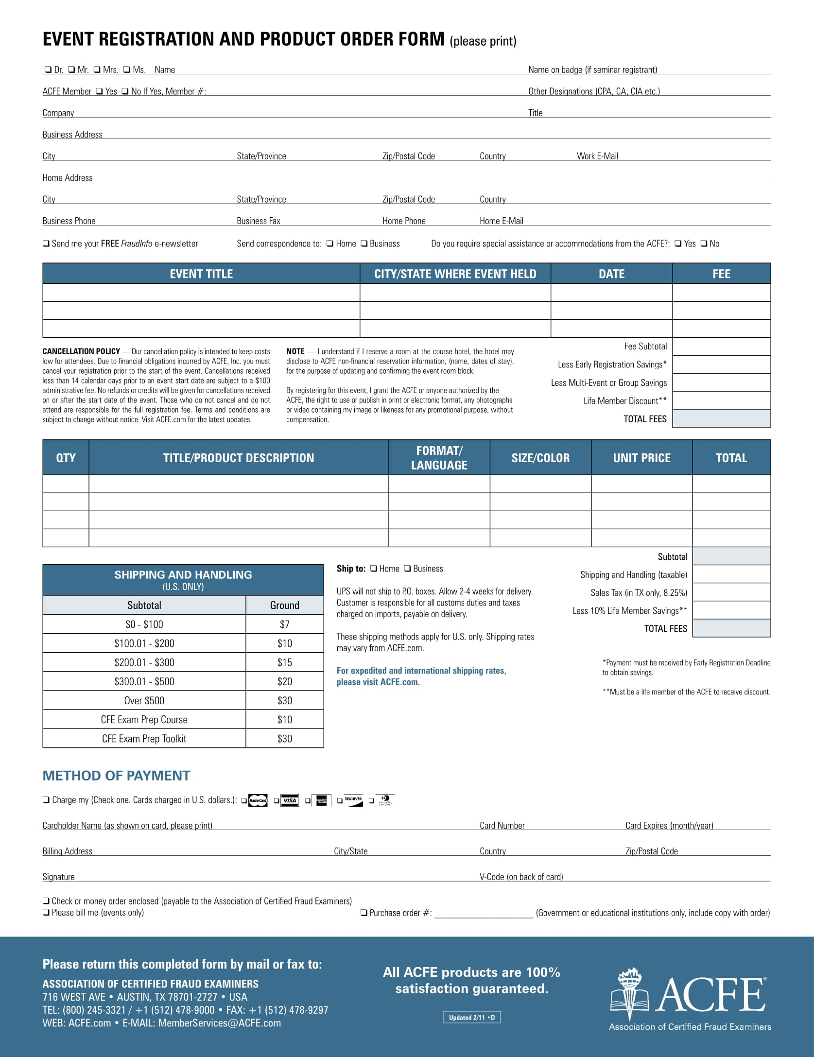 event registration product order form 1