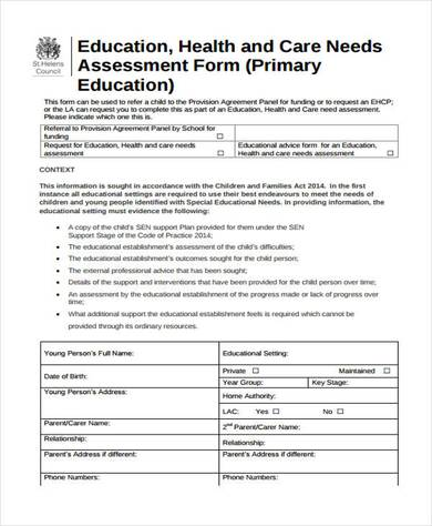 free educational needs assessment form 390