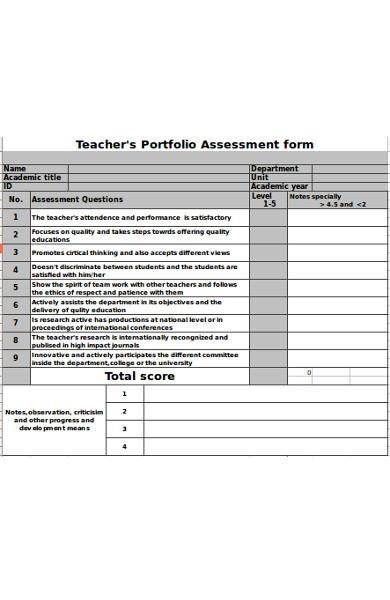 general teacher assessment form