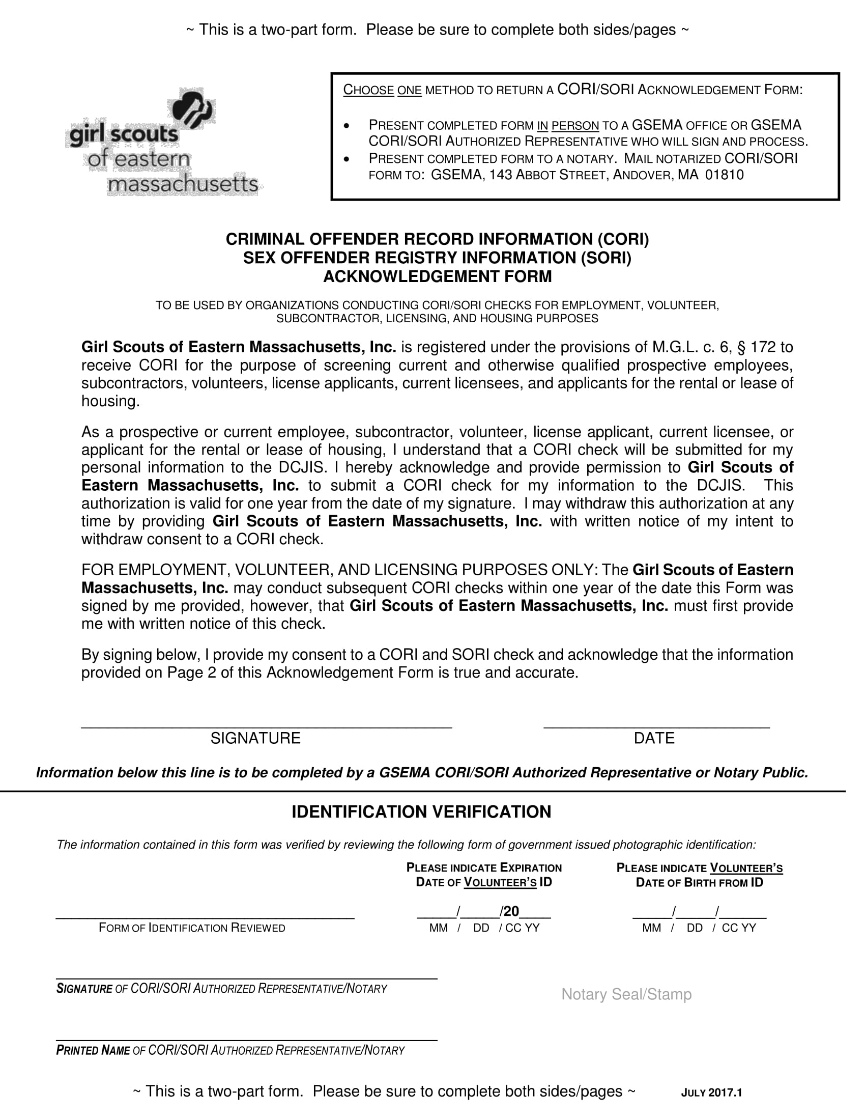 girl scouts identification verification form 1