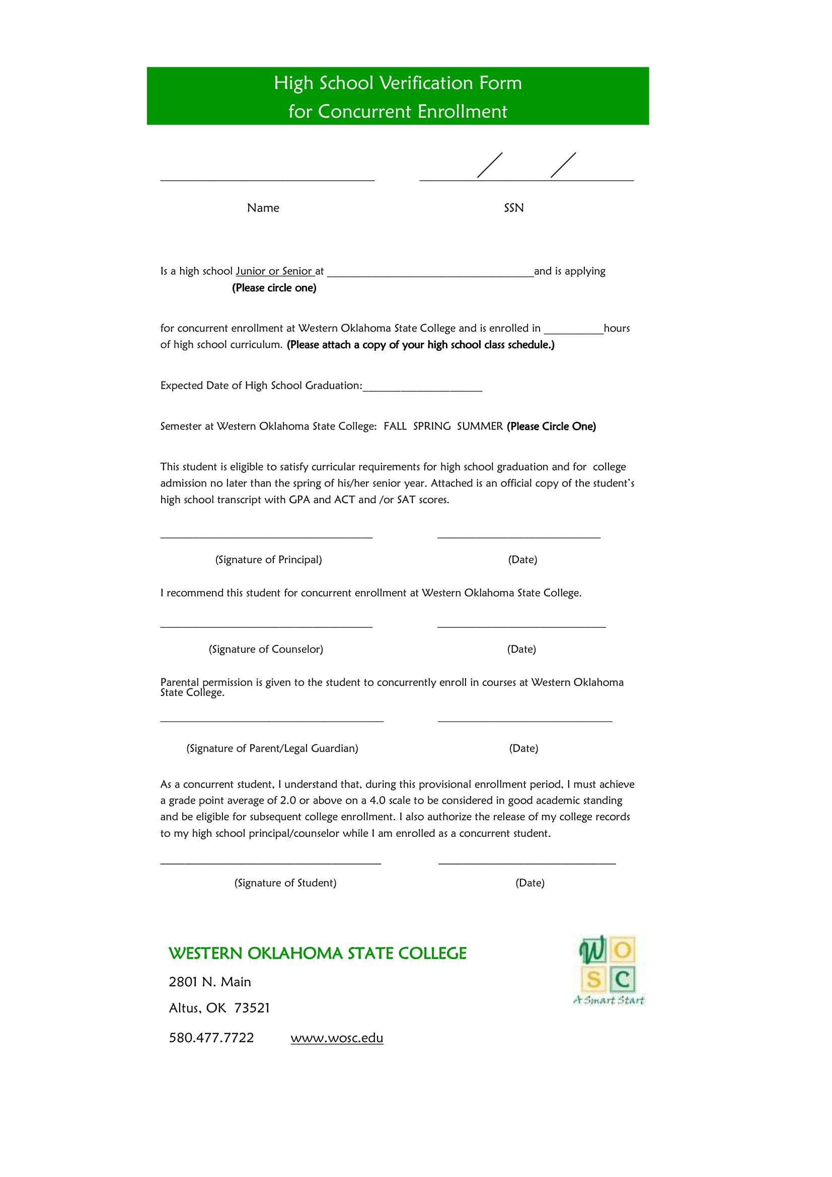 high school verification form for concurrent enrollment 1